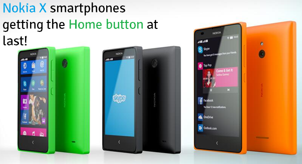 Nokia X series smartphones Home button