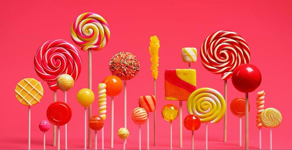 The new Android 5 Lollipop, previously known as 'L'. Photograph: Google