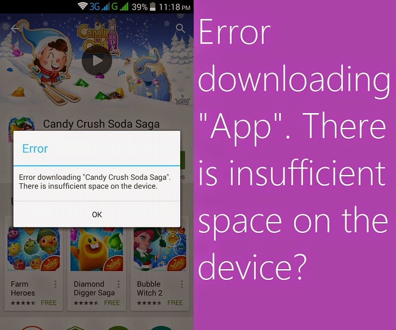 """Error downloading """"App"""". There is insufficient space on the device"""