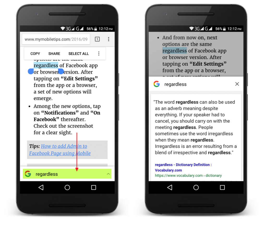 Google Chrome Touch To Search Feature to Boost English Skills