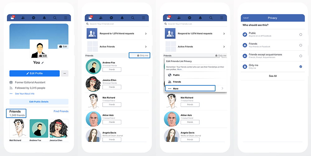 Change_Privacy_Hide Friends List Mobile Version of Facebook
